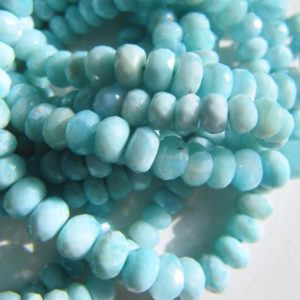 Larimar Rondelles • 4-6mm • Aaa Micro Faceted • Natural Dominican • Pastel Blue • Gemstone Jewellery Supplies | Natural genuine faceted Larimar beads for beading and jewelry making.  #jewelry #beads #beadedjewelry #diyjewelry #jewelrymaking #beadstore #beading #affiliate #ad