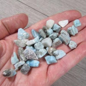 Shop Tumbled Larimar Crystals & Pocket Stones! Mini Larimar Tumbled Stone Small Bag T182 | Natural genuine stones & crystals in various shapes & sizes. Buy raw cut, tumbled, or polished gemstones for making jewelry or crystal healing energy vibration raising reiki stones. #crystals #gemstones #crystalhealing #crystalsandgemstones #energyhealing #affiliate #ad