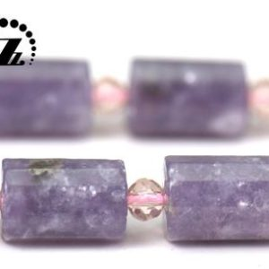"""Shop Lepidolite Faceted Beads! Lepidolite Faceted Tube bead,cylinder beads,Genuine,diy beads,beads for jewelry,8×11-12mm,15"""" full strand   Natural genuine faceted Lepidolite beads for beading and jewelry making.  #jewelry #beads #beadedjewelry #diyjewelry #jewelrymaking #beadstore #beading #affiliate #ad"""