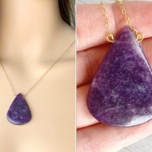 Shop Lepidolite Pendants! Large Lepidolite Necklace, Quality Gold Fill, Sterling Silver, Empath Protection Stone, Raw Lepidolite Pendant, Emotional Healing Gemstone   Natural genuine Lepidolite pendants. Buy crystal jewelry, handmade handcrafted artisan jewelry for women.  Unique handmade gift ideas. #jewelry #beadedpendants #beadedjewelry #gift #shopping #handmadejewelry #fashion #style #product #pendants #affiliate #ad