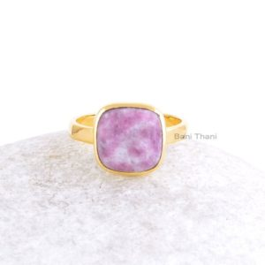 Shop Lepidolite Rings! Lepidolite Ring-Lepidolite Cushion 10x10mm Gold Plated Sterling Silver Ring-Handmade Ring-Cushion Ring-Unique Gifts For Women | Natural genuine Lepidolite rings, simple unique handcrafted gemstone rings. #rings #jewelry #shopping #gift #handmade #fashion #style #affiliate #ad