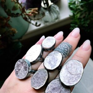 Lepidolite Ring, Raw Lepidolite Mica | Natural genuine Gemstone rings, simple unique handcrafted gemstone rings. #rings #jewelry #shopping #gift #handmade #fashion #style #affiliate #ad