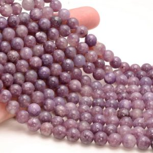 Shop Lepidolite Round Beads! Genuine Natural Lepidolite Gemstone Purple AA 4mm 6mm 8mm 10mm Round Beads 15.5 inch Full Strand Lot 1,2,6,12 and 50 (M37) | Natural genuine round Lepidolite beads for beading and jewelry making.  #jewelry #beads #beadedjewelry #diyjewelry #jewelrymaking #beadstore #beading #affiliate #ad