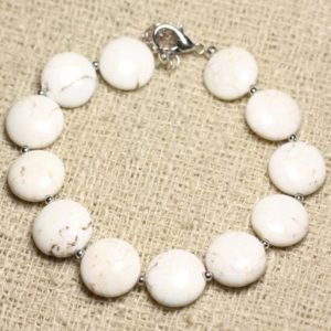 Shop Magnesite Bracelets! Bracelet 925 sterling silver and stone – Magnesite beads 12mm | Natural genuine Magnesite bracelets. Buy crystal jewelry, handmade handcrafted artisan jewelry for women.  Unique handmade gift ideas. #jewelry #beadedbracelets #beadedjewelry #gift #shopping #handmadejewelry #fashion #style #product #bracelets #affiliate #ad