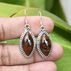 Shop Mahogany Obsidian Earrings! Mahogany Obsidian Earring, 925 Sterling Silver, 10x19mm Marquise Gemstone Earring, Silver Earring, Handmade Earring, Boho Earring, Etsy | Natural genuine Mahogany Obsidian earrings. Buy crystal jewelry, handmade handcrafted artisan jewelry for women.  Unique handmade gift ideas. #jewelry #beadedearrings #beadedjewelry #gift #shopping #handmadejewelry #fashion #style #product #earrings #affiliate #ad