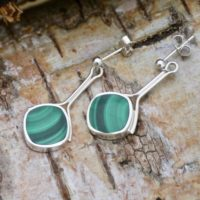 Malachite Silver Stem Drop Earrings – Handmade | Natural genuine Gemstone jewelry. Buy crystal jewelry, handmade handcrafted artisan jewelry for women.  Unique handmade gift ideas. #jewelry #beadedjewelry #beadedjewelry #gift #shopping #handmadejewelry #fashion #style #product #jewelry #affiliate #ad