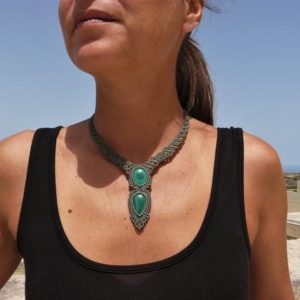 Shop Malachite Necklaces! Energy Healing Crystal Jewelry Macrame Malachite Necklace, One of a Kind Spiritual Gift for Women. | Natural genuine Malachite necklaces. Buy crystal jewelry, handmade handcrafted artisan jewelry for women.  Unique handmade gift ideas. #jewelry #beadednecklaces #beadedjewelry #gift #shopping #handmadejewelry #fashion #style #product #necklaces #affiliate #ad