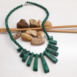 Shop Malachite Necklaces! Malachite Jewelry – Malachite Statement Necklace – Boho Necklace – Beaded Statement Necklace – Shiny Necklace – Malachite Necklace For Women | Natural genuine Malachite necklaces. Buy crystal jewelry, handmade handcrafted artisan jewelry for women.  Unique handmade gift ideas. #jewelry #beadednecklaces #beadedjewelry #gift #shopping #handmadejewelry #fashion #style #product #necklaces #affiliate #ad