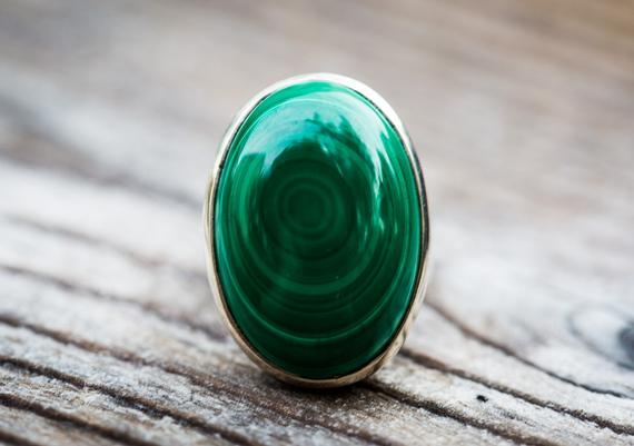 Malachite Ring 6.5 - Malachite Ring, Green Malachite Ring - Malachite Jewelry - Ring Size 6.5 - Malachite Size 6.5 - Malachite Ring Size 6.5