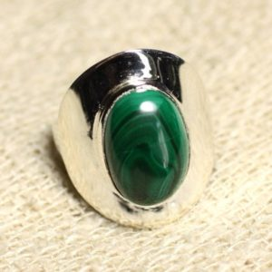 Shop Malachite Rings! N124 – 925 sterling silver ring and stone – Malachite oval 14x10mm | Natural genuine Malachite rings, simple unique handcrafted gemstone rings. #rings #jewelry #shopping #gift #handmade #fashion #style #affiliate #ad