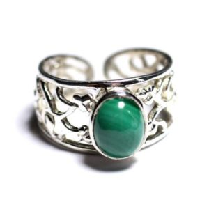 Shop Malachite Rings! N224 – Ring 925 sterling silver and semi precious – Malachite oval 9x7mm | Natural genuine Malachite rings, simple unique handcrafted gemstone rings. #rings #jewelry #shopping #gift #handmade #fashion #style #affiliate #ad