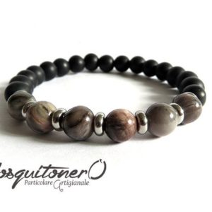 Shop Petrified Wood Bracelets! Men's bracelet in stone pearls petrified wood, fossil wood and opaque agate with steel elements, gift idea, protective   Natural genuine Petrified Wood bracelets. Buy crystal jewelry, handmade handcrafted artisan jewelry for women.  Unique handmade gift ideas. #jewelry #beadedbracelets #beadedjewelry #gift #shopping #handmadejewelry #fashion #style #product #bracelets #affiliate #ad