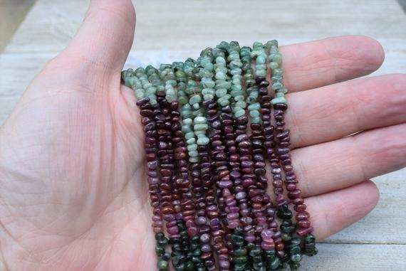 Mixed Ruby And Emerald Chips / Beads - Natural Gemstone Chips - Long Strand