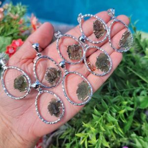 """Genuine Moldavite Antigravity Raw Necklace-from Czech Republic """"The Stone of Transformation""""-Reiki Crystal Healing-Genuine-One piece-Lot 11 