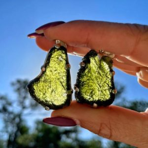 """Genuine Moldavite Necklace – from Czech Republic """"The Stone of Transformation""""-Reiki Crystal Healing- Genuine- One piece-Lot 17 