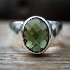 Shop Moldavite Rings! Moldavite Ring 9 – Silver and Moldavite Large full faceted Ring size 9 – Moldavite Ring size 9 – Faceted Moldavite Ring 9   Natural genuine Moldavite rings, simple unique handcrafted gemstone rings. #rings #jewelry #shopping #gift #handmade #fashion #style #affiliate #ad