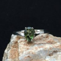 Apostrophe! 5x8mm Genuine Faceted Pear Shape Moldavite And Sterling Silver Rhodium Plated Ring | Natural genuine Gemstone jewelry. Buy crystal jewelry, handmade handcrafted artisan jewelry for women.  Unique handmade gift ideas. #jewelry #beadedjewelry #beadedjewelry #gift #shopping #handmadejewelry #fashion #style #product #jewelry #affiliate #ad
