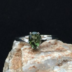Apostrophe! 5x8mm Genuine Faceted Pear Shape Moldavite and Sterling Silver Rhodium Plated Ring | Natural genuine Moldavite rings, simple unique handcrafted gemstone rings. #rings #jewelry #shopping #gift #handmade #fashion #style #affiliate #ad