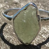 Moldavite-green Fire Ring, Size 7 3 / 4, 925 Silver With Postive Healing Energy! | Natural genuine Gemstone jewelry. Buy crystal jewelry, handmade handcrafted artisan jewelry for women.  Unique handmade gift ideas. #jewelry #beadedjewelry #beadedjewelry #gift #shopping #handmadejewelry #fashion #style #product #jewelry #affiliate #ad
