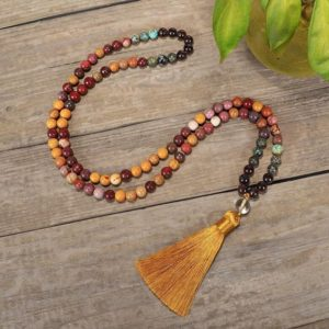 Shop Mookaite Jasper Jewelry! 108 Prayer Mala Beads Necklace-Healing Rhodonite Necklace-Black Onyx Meditation Protection Stress Relief Yoga Necklace | Natural genuine Mookaite Jasper jewelry. Buy crystal jewelry, handmade handcrafted artisan jewelry for women.  Unique handmade gift ideas. #jewelry #beadedjewelry #beadedjewelry #gift #shopping #handmadejewelry #fashion #style #product #jewelry #affiliate #ad