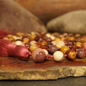 Shop Mookaite Jasper Necklaces! 8mm Mookaite (AAA) Knotted Mala (108 and Guru) with a Mulberry Red 3358 | Natural genuine Mookaite Jasper necklaces. Buy crystal jewelry, handmade handcrafted artisan jewelry for women.  Unique handmade gift ideas. #jewelry #beadednecklaces #beadedjewelry #gift #shopping #handmadejewelry #fashion #style #product #necklaces #affiliate #ad