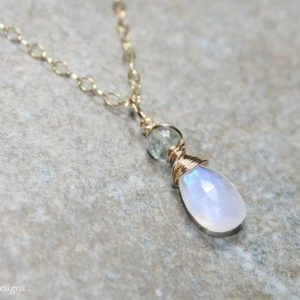 Shop Moonstone Necklaces! Moonstone Necklace, Moss Aquamarine Stone, Gemstone Jewelry, Moonstone Jewelry, Gold Filled, Gemstone Necklace, | Natural genuine Moonstone necklaces. Buy crystal jewelry, handmade handcrafted artisan jewelry for women.  Unique handmade gift ideas. #jewelry #beadednecklaces #beadedjewelry #gift #shopping #handmadejewelry #fashion #style #product #necklaces #affiliate #ad