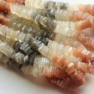 7.5-8.5mm Multi Moonstone Heishi Beads, Multi Moonstone Flat Square Beads,  Moonstone Heishi Spacer Beads For Jewelry (8IN To16IN Options) | Natural genuine other-shape Gemstone beads for beading and jewelry making.  #jewelry #beads #beadedjewelry #diyjewelry #jewelrymaking #beadstore #beading #affiliate #ad