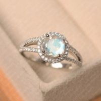 Blue Moonstone Ring, Round Cut, Sterling Silver Engagement Ring, June Birthstone Ring | Natural genuine Gemstone jewelry. Buy handcrafted artisan wedding jewelry.  Unique handmade bridal jewelry gift ideas. #jewelry #beadedjewelry #gift #crystaljewelry #shopping #handmadejewelry #wedding #bridal #jewelry #affiliate #ad