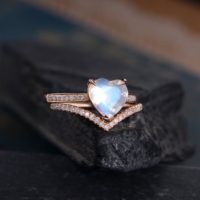 Heart Shaped Bridal Set Moonstone Engagement Ring Rose Gold Curved Chevron Wedding Women Anniversary Gift For Her Rainbow June Birthstone | Natural genuine Gemstone jewelry. Buy handcrafted artisan wedding jewelry.  Unique handmade bridal jewelry gift ideas. #jewelry #beadedjewelry #gift #crystaljewelry #shopping #handmadejewelry #wedding #bridal #jewelry #affiliate #ad