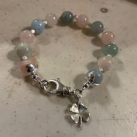 Morganite Bracelet – Pink And Blue Jewellery – Gemstone – Sterling Silver Jewelry – Beaded – Clover Charm | Natural genuine Gemstone jewelry. Buy crystal jewelry, handmade handcrafted artisan jewelry for women.  Unique handmade gift ideas. #jewelry #beadedjewelry #beadedjewelry #gift #shopping #handmadejewelry #fashion #style #product #jewelry #affiliate #ad