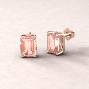 """Shop Morganite Earrings! Morganite Emerald Cut Earrings – 7x5mm Solitaire """"Lola"""" Earrings – by Laurie Sarah – LS5461 