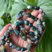 Chunky Moss Agate Bracelet, Crystal Bracelet, Crystal Jewelry, Gemstone Jewelry | Natural genuine Gemstone jewelry. Buy crystal jewelry, handmade handcrafted artisan jewelry for women.  Unique handmade gift ideas. #jewelry #beadedjewelry #beadedjewelry #gift #shopping #handmadejewelry #fashion #style #product #jewelry #affiliate #ad