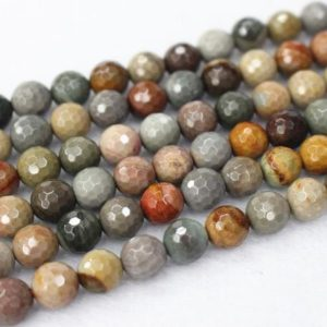 """Shop Ocean Jasper Faceted Beads! 4mm-12mm Natural Ocean Jasper Smooth Round Beads,Ocean Jasper Beads  wholesale supply.15"""" strand, 