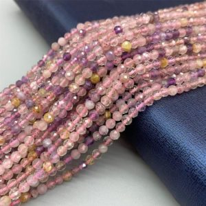 """Shop Ametrine Round Beads! Natural Ametrine Faceted Round Beads 2mm 3mm 15.5"""" Strand Small round faced purple natural Ametrine crystal beads wholesale jewelry making 