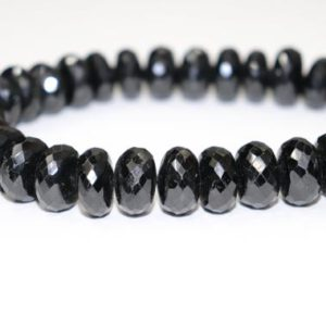 Natural Black Tourmaline Faceted Rondelle Beads  15mm Black Tourmaline Beads   Black Tourmaline Rondelle beads   Wholesale Beads | Natural genuine rondelle Black Tourmaline beads for beading and jewelry making.  #jewelry #beads #beadedjewelry #diyjewelry #jewelrymaking #beadstore #beading #affiliate #ad