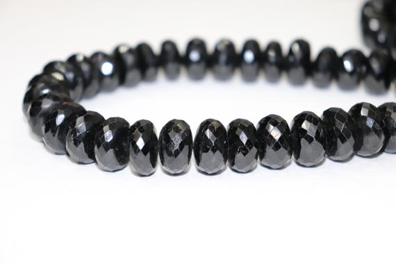 Natural Black Tourmaline Faceted Rondelle Beads  15mm Black Tourmaline Beads   Black Tourmaline Rondelle Beads   Wholesale Beads