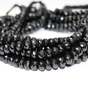 Natural Black Tourmaline Faceted Rondelle Beads  10mm Black Tourmaline Beads   Black Tourmaline Rondelle beads   Wholesale Beads | Natural genuine rondelle Black Tourmaline beads for beading and jewelry making.  #jewelry #beads #beadedjewelry #diyjewelry #jewelrymaking #beadstore #beading #affiliate #ad