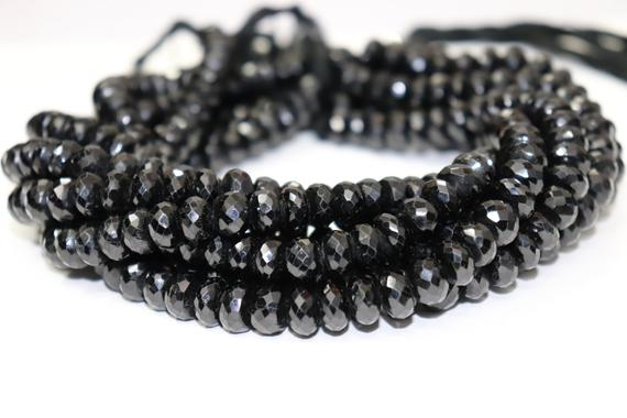 Natural Black Tourmaline Faceted Rondelle Beads  10mm Black Tourmaline Beads   Black Tourmaline Rondelle Beads   Wholesale Beads
