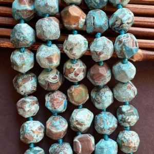 """Shop Ocean Jasper Faceted Beads! Natural blue ocean jasper stone bead. Faceted nugget shape 15x15mm . Beautiful blue brown color ocean jasper . Great quality  gemstone 15.5"""" 