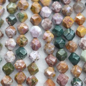 """Shop Ocean Jasper Chip & Nugget Beads! Natural Faceted Ocean Jasper Nugget Beads,6mm 8mm 10mm Natural Star Cut Faceted Ocean Jasper beads,one strand 15"""" 
