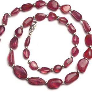 """Shop Sapphire Chip & Nugget Beads! Natural Gem Pink Sapphire 7 to 10MM Broad and 9 to 13MM Long Smooth Nuggets 18"""" Full Strand Super Fine Quality Hand Polished Beads Necklace 