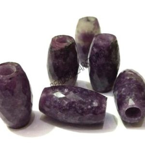 Shop Lepidolite Beads! ON SALE Natural Lepidolite European Handmade Faceted Long Barrel Shape Big Hole Beads 10x18mm 5 Piece-5mm Hole   Natural genuine beads Lepidolite beads for beading and jewelry making.  #jewelry #beads #beadedjewelry #diyjewelry #jewelrymaking #beadstore #beading #affiliate #ad