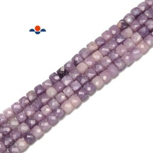 Shop Lepidolite Beads! Natural Lepidolite Faceted Cube Beads Size 4-5mm 15.5'' Strand   Natural genuine beads Lepidolite beads for beading and jewelry making.  #jewelry #beads #beadedjewelry #diyjewelry #jewelrymaking #beadstore #beading #affiliate #ad