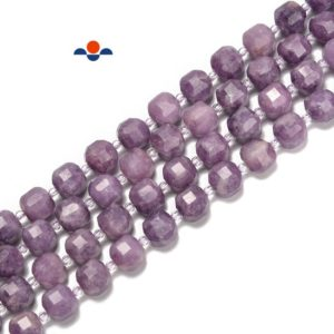 Shop Lepidolite Faceted Beads! Natural Lepidolite Faceted Rubik's Cube Beads Size 8-9mm 15.5'' Strand   Natural genuine faceted Lepidolite beads for beading and jewelry making.  #jewelry #beads #beadedjewelry #diyjewelry #jewelrymaking #beadstore #beading #affiliate #ad