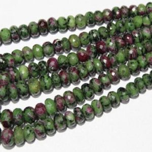 """Shop Ruby Zoisite Rondelle Beads! Natural Ruby Zoisite Faceted Rondelle Beads, Natural Ruby Zoisite Rondelle Beads, Ruby Zoisite Gemstone Rondelles, Size 7mm-14mm 16"""" Strand 