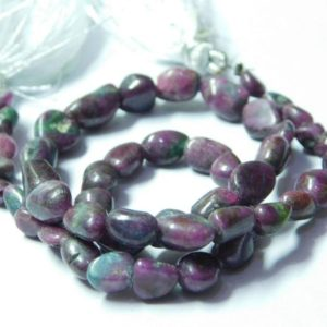 Shop Ruby Zoisite Chip & Nugget Beads! Natural Ruby Zoisite Gemstone Handmade Smooth Nugget Shape Beads 5x5mm-6x10mm Approx / Natural Ruby Zoisite Beads 13 Inch Strand 20gm.   Natural genuine chip Ruby Zoisite beads for beading and jewelry making.  #jewelry #beads #beadedjewelry #diyjewelry #jewelrymaking #beadstore #beading #affiliate #ad
