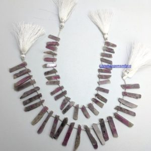 Shop Ruby Chip & Nugget Beads! Natural Ruby Zoisite Raw Material Stick Beads,High Polish Ruby Zoisite Gemstone Smooth Chips Beads,Rough Gemstone Beads,13-31mm,8 Inches | Natural genuine chip Ruby beads for beading and jewelry making.  #jewelry #beads #beadedjewelry #diyjewelry #jewelrymaking #beadstore #beading #affiliate #ad