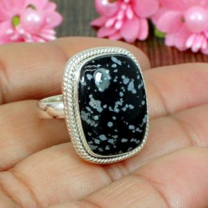 Shop Snowflake Obsidian Rings! Natural Snowflake Obsidian Gemstone, Handmade Ring, 925 Sterling Silver Ring, Beautiful Gift Silver Ring, Designer Ring, Stackable Jewelry | Natural genuine Snowflake Obsidian rings, simple unique handcrafted gemstone rings. #rings #jewelry #shopping #gift #handmade #fashion #style #affiliate #ad
