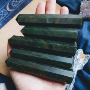 Shop Jade Points & Wands! Nephrite Jade tower points – Protection, Luck, Good Fortune, Peace, Journey | Natural genuine stones & crystals in various shapes & sizes. Buy raw cut, tumbled, or polished gemstones for making jewelry or crystal healing energy vibration raising reiki stones. #crystals #gemstones #crystalhealing #crystalsandgemstones #energyhealing #affiliate #ad