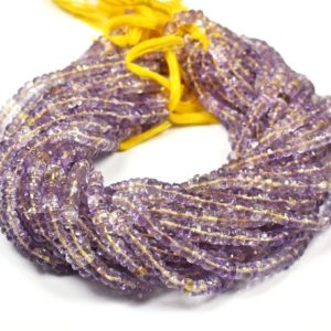 Shop Ametrine Rondelle Beads! Natural Ametrine Faceted Center Drill Rondelles~~~5.5mm-6mm~~1 Strand~~Ametrine Gemstone Beads 13 Inch | Natural genuine rondelle Ametrine beads for beading and jewelry making.  #jewelry #beads #beadedjewelry #diyjewelry #jewelrymaking #beadstore #beading #affiliate #ad